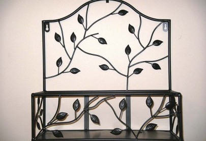 Set of 2 Wrought Iron Wall Shelves Black