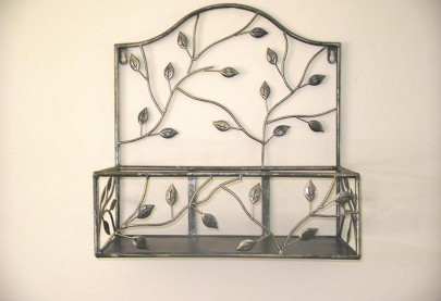 Set of 2 Wrought Iron Wall Shelves Brushed Silver-Gold