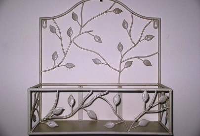 Set of 2 Wrought Iron Wall Shelves Cream