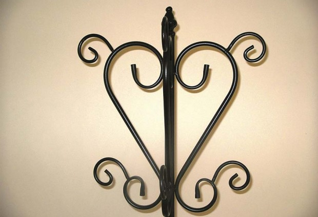 Wrought Iron Coat Stand Black