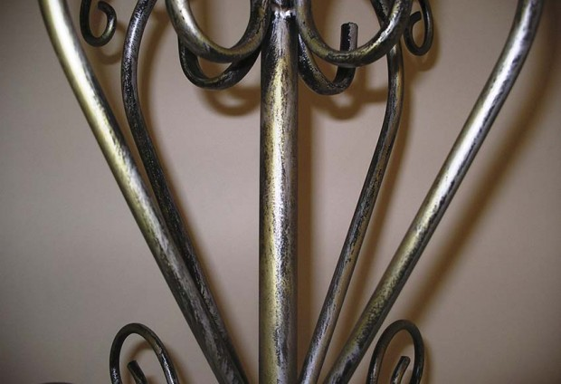 Wrought Iron Coat Stand Brushed Silver-Gold