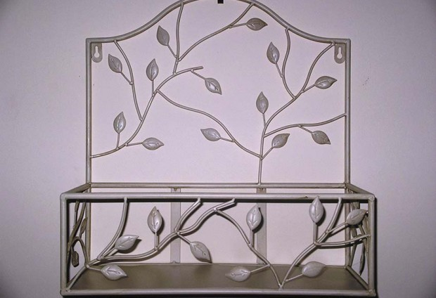 Wrought Iron Wall Shelf Cream